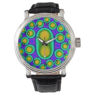 Modelo colorido del círculo y del cuadrado relojes de pulsera