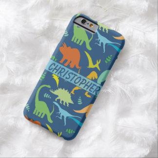 Modelo colorido del dinosaurio a personalizar funda de iPhone 6 barely there