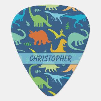 Modelo colorido del dinosaurio a personalizar púa de guitarra