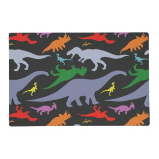 Modelo colorido del dinosaurio (luz y oscuridad) tapete individual