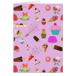 Modelo colorido del fiesta del caramelo tarjeta de felicitación