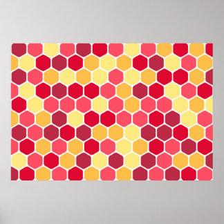 Modelo colorido del hexágono del panal póster