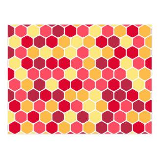 Modelo colorido del hexágono del panal tarjetas postales