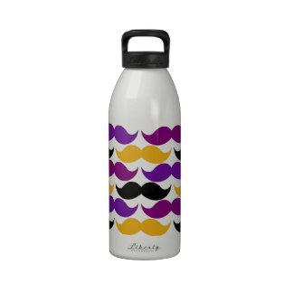 Modelo colorido del manillar retro del bigote botellas de agua reutilizables