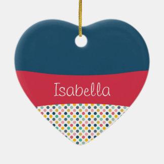 Modelo colorido del personalizable del lunar adorno de cerámica en forma de corazón