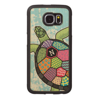 Modelo colorido del remiendo de la tortuga de mar fundas de madera para samsung s6