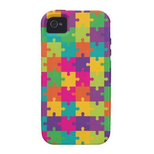 Modelo colorido del rompecabezas iPhone 4 carcasas