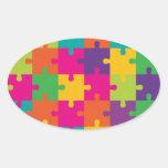 Modelo colorido del rompecabezas pegatina ovalada