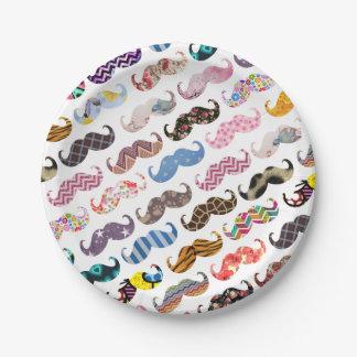 Modelo colorido divertido lindo de los bigotes plato de papel de 7 pulgadas