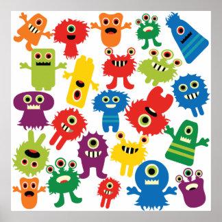 Modelo colorido divertido lindo de los monstruos impresiones