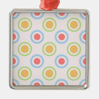 Modelo colorido enrrollado de los círculos adorno cuadrado plateado