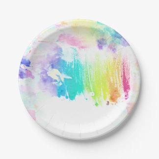 Modelo colorido femenino de las pinceladas de la plato de papel de 7 pulgadas