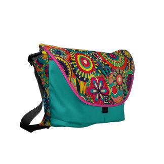 Modelo colorido floral de la textura hermosa bolsas messenger