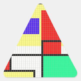 Modelo colorido geométrico del pixel pegatina triangular