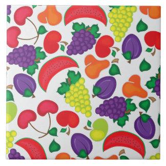 Modelo colorido inconsútil de la fruta azulejo cuadrado grande