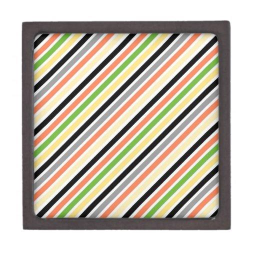 Modelo colorido retro de la raya cajas de joyas de calidad