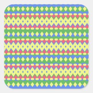 Modelo colorido tribal pegatina cuadrada