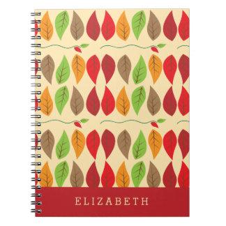Modelo colorido y moderno de la hoja de la caída cuaderno