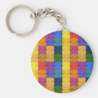 Modelo combinado cuadrado multicolor del bordado llavero personalizado