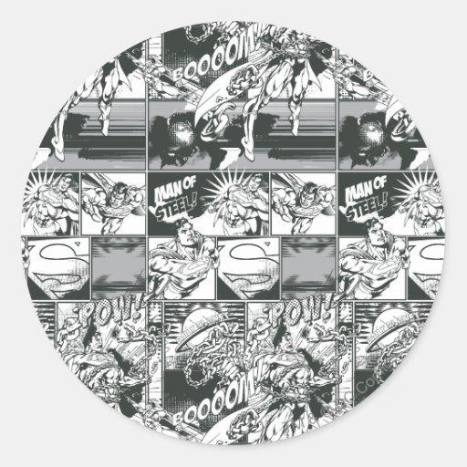 Modelo cómico blanco y negro pegatina redonda