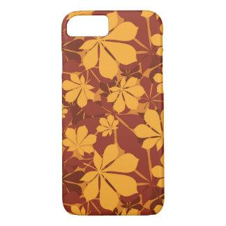 Modelo con las hojas de la castaña del otoño funda iPhone 7