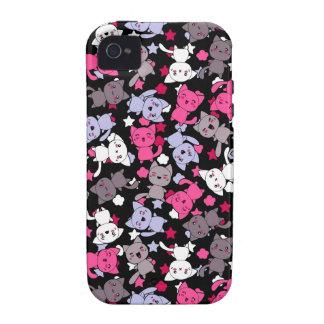 modelo con los gatos lindos 3 del doodle del kawai Case-Mate iPhone 4 carcasa