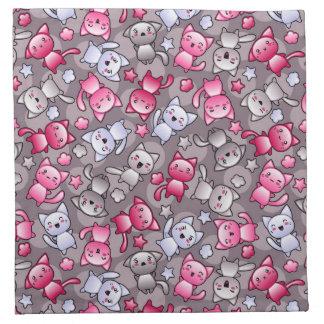 modelo con los gatos lindos del doodle del kawaii servilletas de papel
