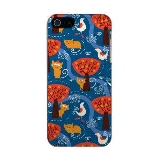 modelo con los gatos y los pájaros lindos funda para iPhone 5 incipio feather shine