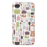 Modelo con los iconos de cocinar coloridos iPhone 4 cárcasa