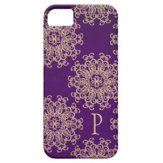 Modelo con monograma de la púrpura y del indio del iPhone 5 funda