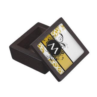 Modelo con monograma del damasco de la mostaza caja de joyas de calidad