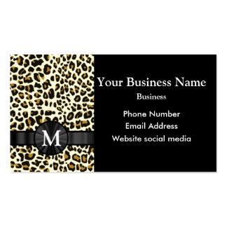 Modelo con monograma del estampado leopardo tarjetas de visita