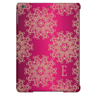 Modelo con monograma del indio de las rosas fuerte funda para iPad air