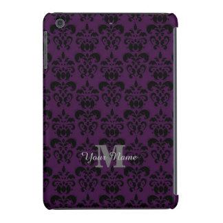Modelo con monograma púrpura del damasco fundas de iPad mini