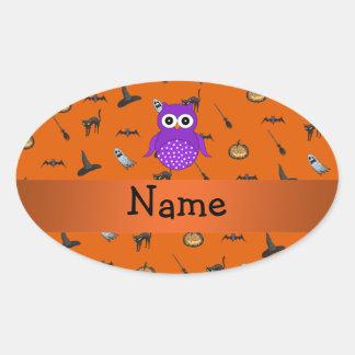 Modelo conocido personalizado de Halloween del búh Calcomania De Oval Personalizadas