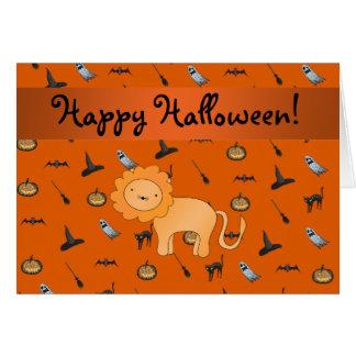 Modelo conocido personalizado de Halloween del leó Tarjeta De Felicitación
