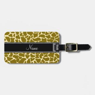Modelo conocido personalizado de la jirafa etiquetas de maletas