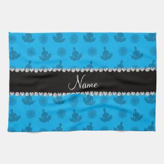 Modelo conocido personalizado de la yoga del azul  toalla de mano