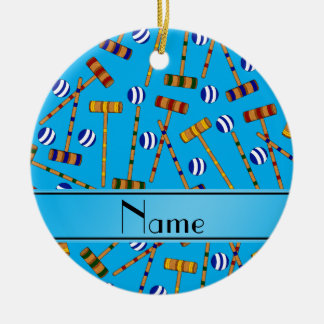 Modelo conocido personalizado del croquet del azul adorno navideño redondo de cerámica