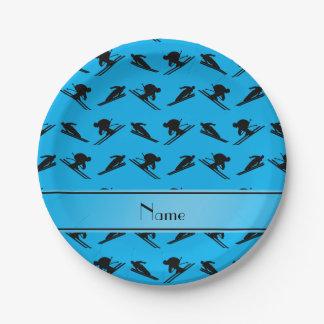 Modelo conocido personalizado del esquí del azul plato de papel de 7 pulgadas