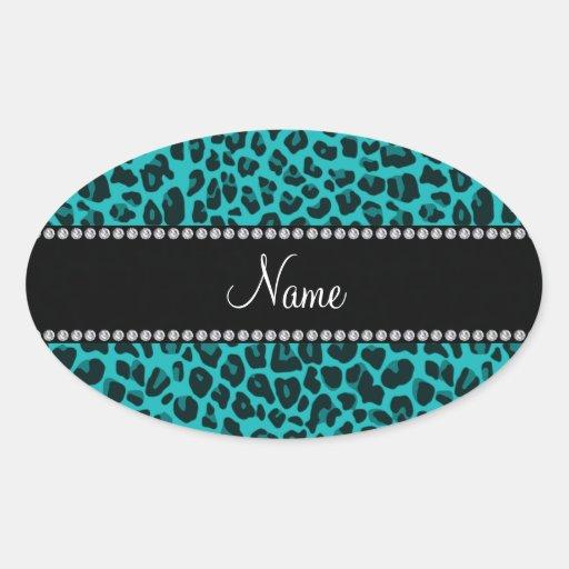 Modelo conocido personalizado del leopardo de la t pegatinas ovaladas personalizadas