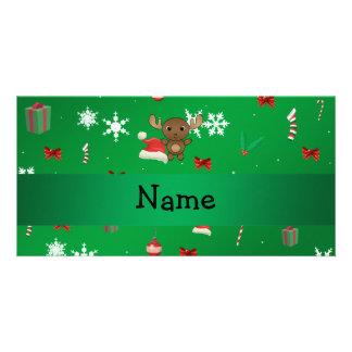 Modelo conocido personalizado del navidad del verd tarjeta fotografica