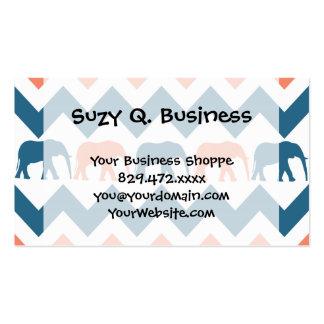 Modelo coralino de la raya azul de los elefantes d tarjeta de visita