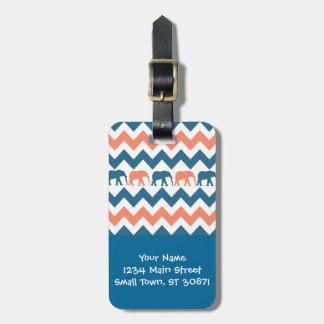 Modelo coralino de la raya azul de los elefantes etiqueta de equipaje