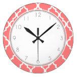 Modelo coralino de Quatrefoil Reloj Redondo Grande