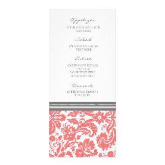Modelo coralino gris del damasco del menú del boda tarjeta publicitaria a todo color