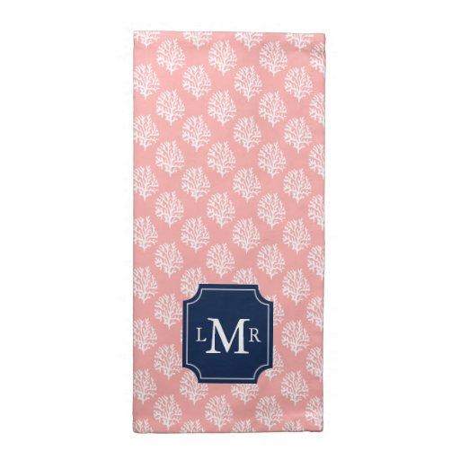 Modelo coralino lindo y monograma azul servilleta de papel