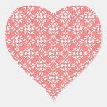 Modelo coralino y blanco del estilo del damasco pegatinas corazon personalizadas