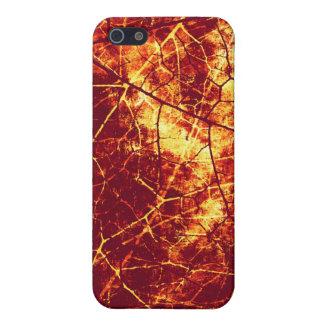 Modelo Crackled rojo oxidado de la textura del iPhone 5 Carcasas