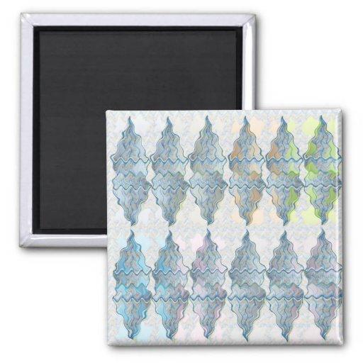 Modelo cristalino azul imán cuadrado